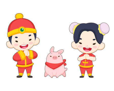 Cute style Chinese boy and girl in traditional costume with a pig illustration