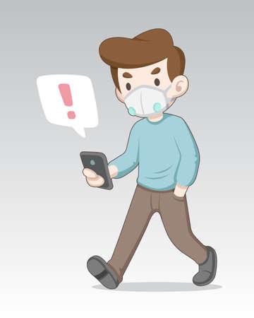 Masked man noticed by alert symbol on smartphone while walking illustration Illustration