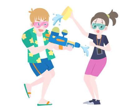 flat style foreigners splashing water to each other during Thailand Water Festival illustration