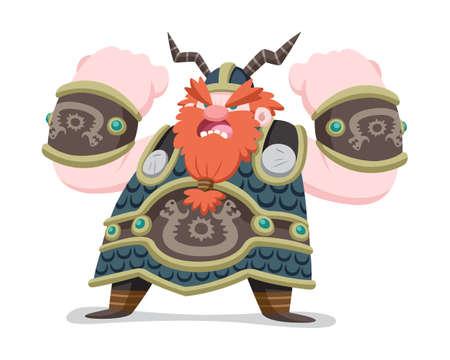 Flat cartoon style bulky body shape viking shouting battle cry illustration