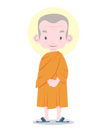 Flat style senior Thai monk standing straight cartoon illustration Illustration