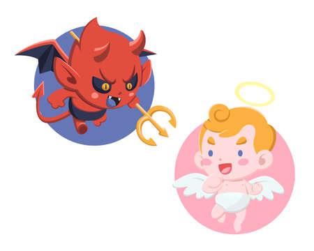 Ładny styl kreskówka mały diabeł i anioł na białym tle ilustracja