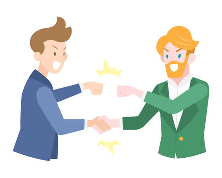 Flat Style Handshaked Businessmen in blue and green suit doing fistbump to each other illustration