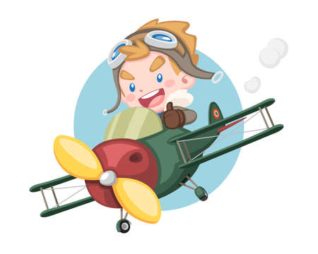 Cute style little pilot boy raising thumb riding vintage plane with circle background illustration Illustration