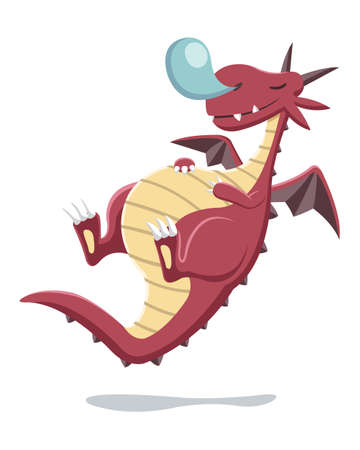 Cartoon style red fat dragon sleeping while levitating illustration