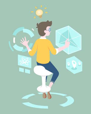 Flat style programmer working on hologram stuff vector illustration