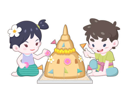 Cute cartoon style Thai girl and boy in vintage wearing making and decorating sand pagoda illustartion