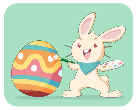 Cheerful light brown rabbit painting pattern an easter egg with brush illustration