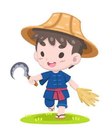 Simpatico contadino thailandese in stile cartone animato con falce e orecchio di risaia che cammina rilassato illustrazione Vettoriali