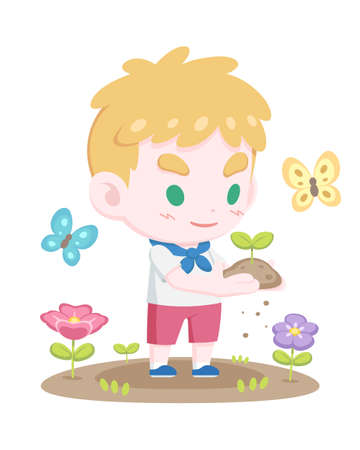 Cute young blonde boy scout holding a sprout gently with butterflies and flowers cartoon illustration