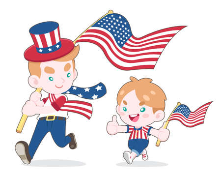 Cute style man and a boy waving USA flags, smiling to each other cartoon illustration on white background