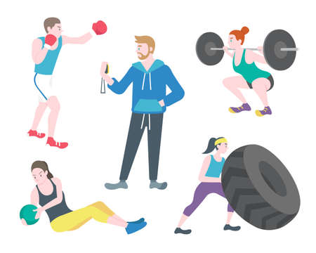 Flat style men and women exercise in different actions like boxing, weightlifting, pushing tire vector illustration