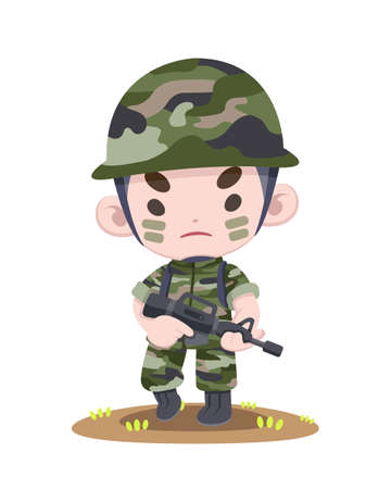 Cute Thai soldier standing strong holding rifle cartoon illustration