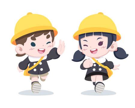 Cute little Japanese children in kindergarten uniform say hello to each other cartoon illustration Illustration