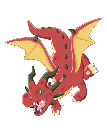 Cute style East red dragon flying lively cartoon illustration