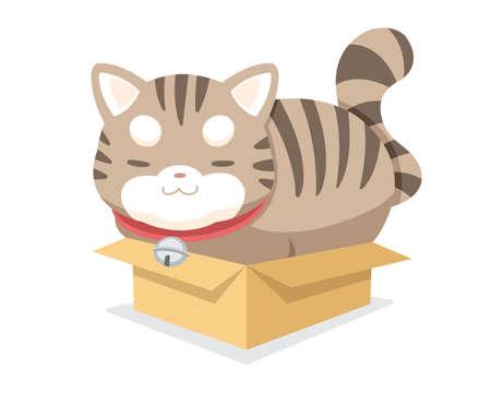Cute style vector chubby cat sitting tight in small box cartoon illustration   Illustration