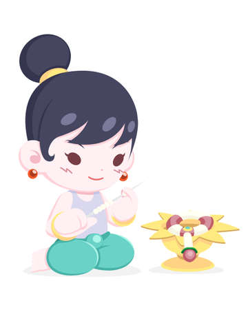 Cute cartoon style Thai little girl making flower garland intently, tray is placed in front of her illustration