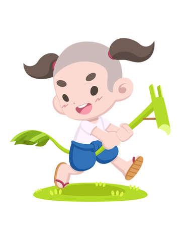 Cute cartoon style Thai traditional game, Banana rib hobbyhorse riding illustration Illustration