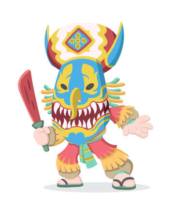 Cute cartoon style of a man wearing Thai cultural Phi ta Khon mask holding wooden red sword illustration Illustration