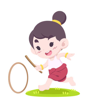 Cute cartoon style Thai traditional game, little girl play wheel rolling vector illustration