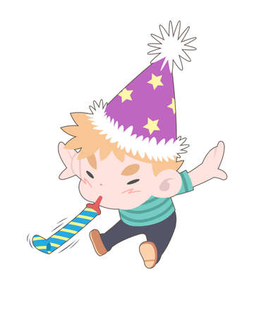 Cute style little boy blowing party horn hardly cartoon vector illustration Illustration
