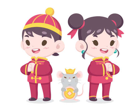 Year of a rat : Cute cartoon style Chinese boy and girl in traditional costume with a rat illustration