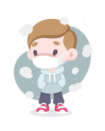 Cute cartoon style sick man wearing face mask surrounded by air pollution vector illustration Illustration