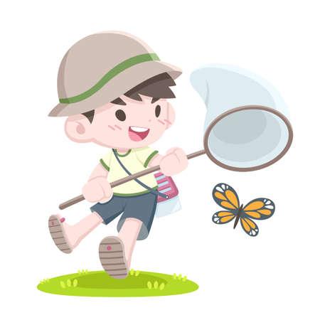 Cute cartoon style little Japanese bug catcher boy catching butterfly vector illustration
