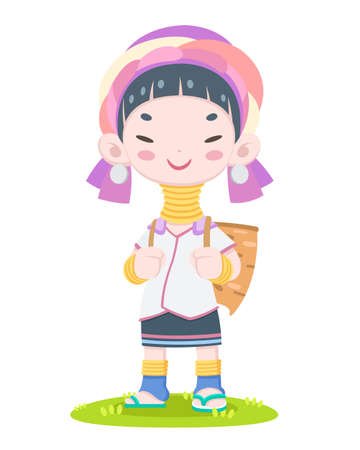 A local tribe of Northern Thailand, Cute style happy Karen long neck woman vector illustration