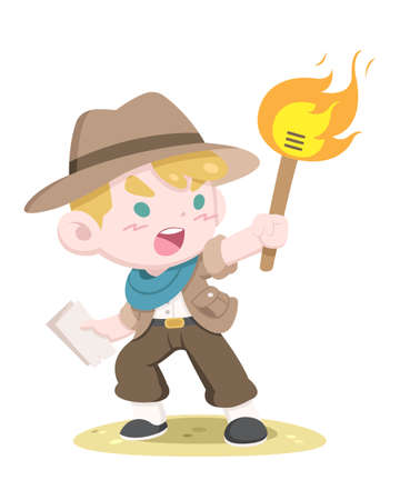 Cute style little golden hair adventurer holding torch and treasure map vector illustration Illustration