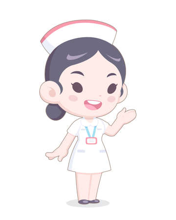 Cute Cartoon Style White Uniform Nurse Presenting Happily Vector Illustration Illustration