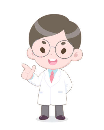 Cute Cartoon Style White Uniform Doctor Presenting Happily Vector Illustration