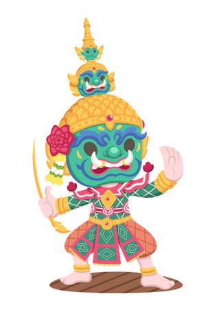 Cute style character of traditional Thai performer Khon Yak [Tossakan] cartoon illustration Vektorgrafik