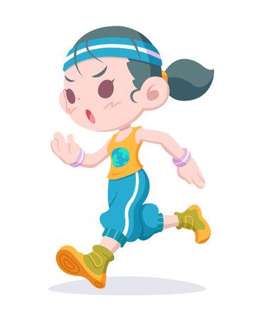 World health day, cute style woman running cartoon illustration Vetores