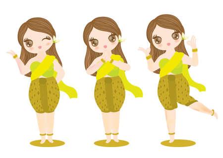 Vector de caracteres chica tailandesa para información, recepcionista, restaurante de comida, compañía Foto de archivo - 83095553