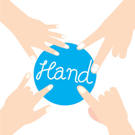 hand and finger for team work, symbols and sign 向量圖像