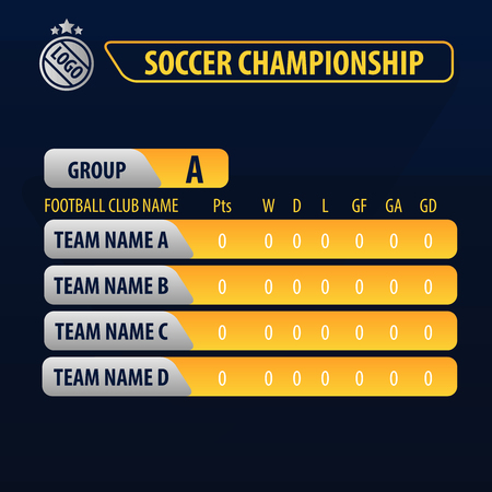 soccer championship football cup . soccer group ranking broadcast graphic template. Illustration