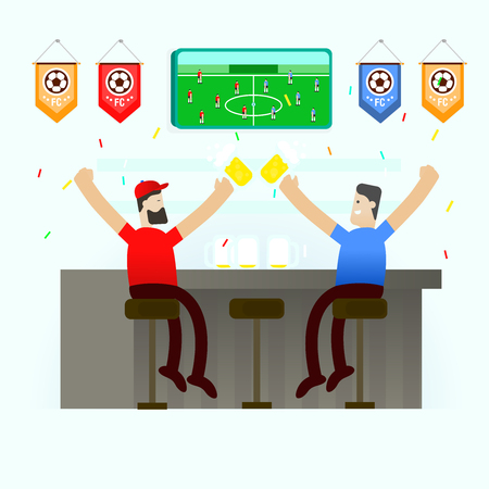 people cheering soccer championship football cup Illustration