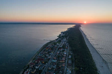 Aerial drone view of Chalupy Hel Penisula Baltic sea in Poland