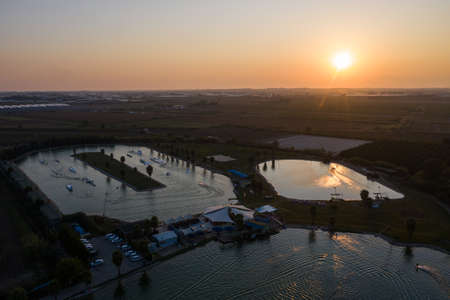 Aerial drone view sunset in Hip-notics cable park wake park in Antalya Turkey. Wakeboarding in Turkey Stock Photo