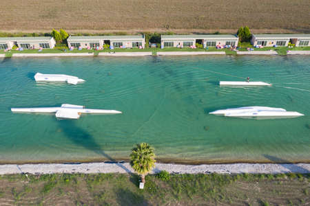 Aerial drone view Hip-notics cable park wake park in Antalya Turkey. Wakeboarding in Turkey