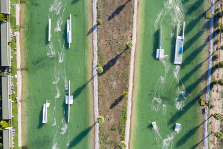 Aerial drone view Hip-notics cable park wake park in Antalya Turkey. Wakeboarding in Turkey Stock Photo