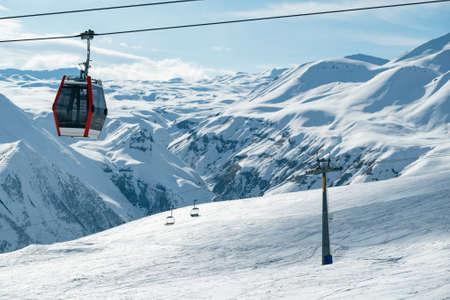 Aerial drone Gudauri ski resort in winter. Caucasus mountains in Georgia Stock fotó