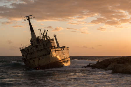 Abandoned shipwreck Edro at sunset near Paphos, Cyprus