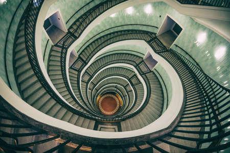 Spiral staircase of modern office building in Okraglak in Poznan, Poland Archivio Fotografico