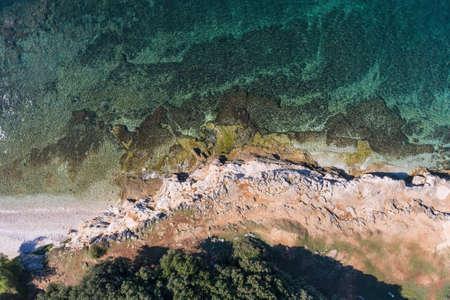 Holiday on adriatic sea in Lanterna Porec Istarska Croatia Aerial drone photo Archivio Fotografico