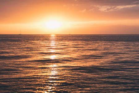 Sunset in adriatic sea Lanterna Croatia Archivio Fotografico