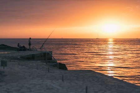 Sunset in adriatic sea Lanterna Croatia