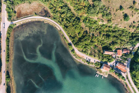 Adriatic sea Mirna river Antenal Tar Croatia Aerial Drone Photo Archivio Fotografico