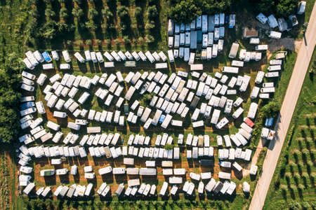 Camping site campground full of campers aerial drone photo